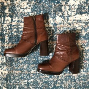 Brown Leather Booties Size 6